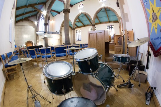 JFAN's drum kit in St Andrew's church