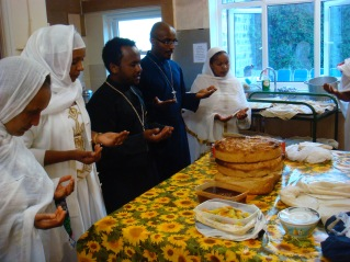 Blessing the bread after an Ethiopian Orthodox service