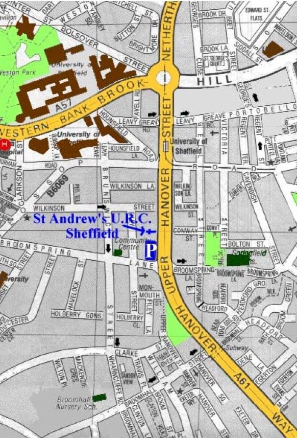 Local map frr St Andrew's URC